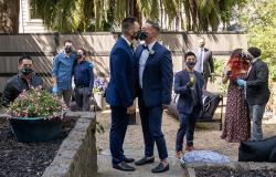 César Salza, left, and Kyle Hill tied the knot at a friend's home April 18, complete with physical distancing