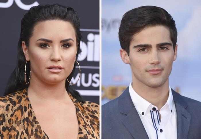 Demi Lovato, left, and actor-singer and Max Ehrich, right.