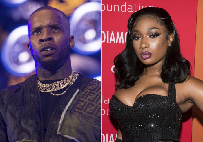 Rapper Tory Lanez, left, and rapper Megan Thee Stallion, right.