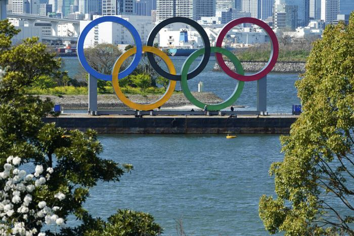 The Olympic rings is seen at Tokyo's Odaiba district.