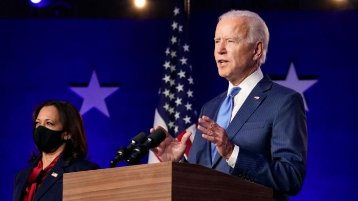 Kamala Harris and Joe Biden in Wilmington, DE on Saturday, November 7, 2020