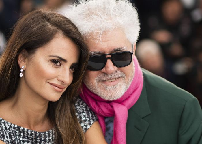 """Penelope Cruz, left, and director Pedro Almodovar pose for photographers at the photo call for the film """"Pain and Glory"""" at the 72nd international film festival, Cannes."""