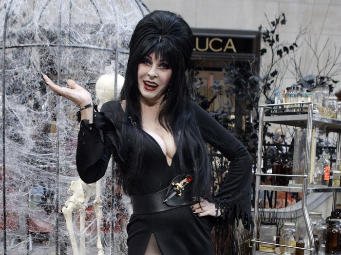 """Cassandra Peterson, who plays """"Elvira, Mistress of the Dark,"""" appears during the NBC """"Today"""" television program's annual Halloween show in New York on Oct. 31, 2007."""